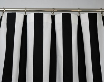 Black White Modern Vertical Stripe Curtains - Rod Pocket - 84 96 108 or 120 Long by 24 or 50 Wide - Optional Blackout or Cotton Lining