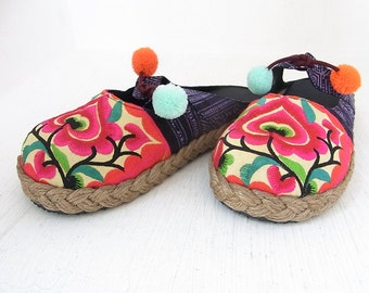 Clogs Size 5.5 Orange Flower HMONG Fabric Hand Embroidered Laced Boots Thailand (SD027.X704)
