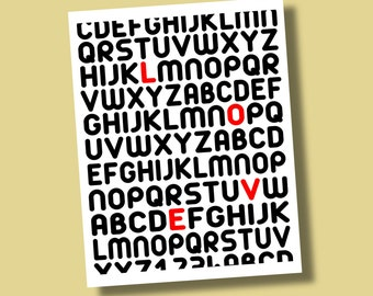 LOVE Typography Giclee Print in Aristo Font