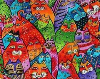 Laurel Burch Aztec Feline Cats Bright Bold Spring Fabric Purple Orange Lime Indigo Retired Out of Print FQ