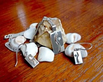 Rectangular silver & gold earrings and pendant set