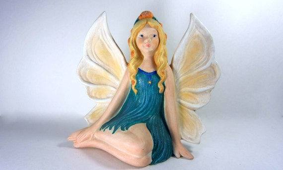CUSTOM ORDER - Ceramic Fairy Sitting Down - 7 inches -hand painted, elegant, fantasy