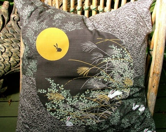 "Cotton ""Rabbit and the Moon"" cushion pillow hand sewn Japanese furoshiki indigo. 20"" 50cm."