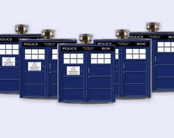 Tardis Doctor Who Groomsmen Flask Set,  Tardis Flask Set
