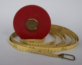SALE Vintage German measuring tape in a red leather case.  Made in GDR (East Germany).