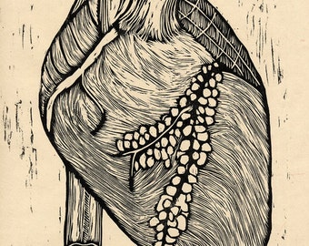 Hand-pulled Woodcut Print Heart no. 1