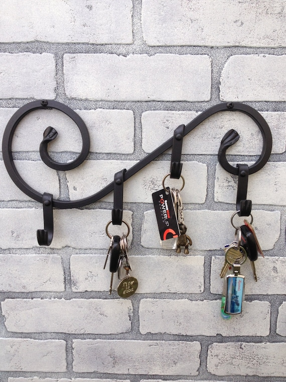Wrought iron key holder leash holder pot by europeanirondecor for Mural key holder