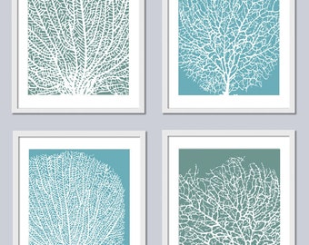 Coral Undersea Garden - 4 Art Prints - Wall Art Home Decor - Pick your Colors - Featured in Turquoise White