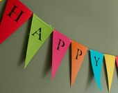 Happy Birthday Banner (Bunting, Sign, Flags, Pennants) in bold colors. Perfect for Party Decoration