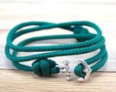 Anchor Charm Bracelet - Nautical Braceelet - Anchor Bracelet - Paracord Bracelet - Summmer Fashion
