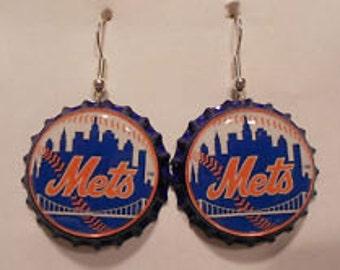 New York Mets bottle cap earrings