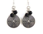 Labyrinth Earrings Yoga Jewelry Lifes Journey Maze Black Unique Etsy Gift For Her Mothers Day Under 20 Item Y117