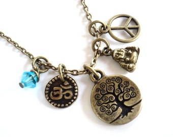 Tree of Life, Yoga, Necklace, Peace, Om, Jewelry, Namaste, Etsy, Bohemian, Fall Fashion, Tree Necklace, Gift For Her, Christmas