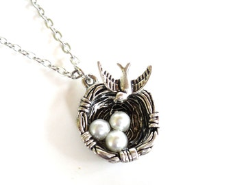 Bird Nest Necklace Mothers Day Wedding Bridesmaid Three Pearl Eggs Unique Gift for Her Item E25