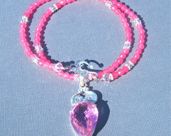 CLEARANCE, Reduced 40%, Pink Statement Necklace, Pink Topaz Sterling Silver Pendant, Hot Pink Jade, Chunky Necklace  164