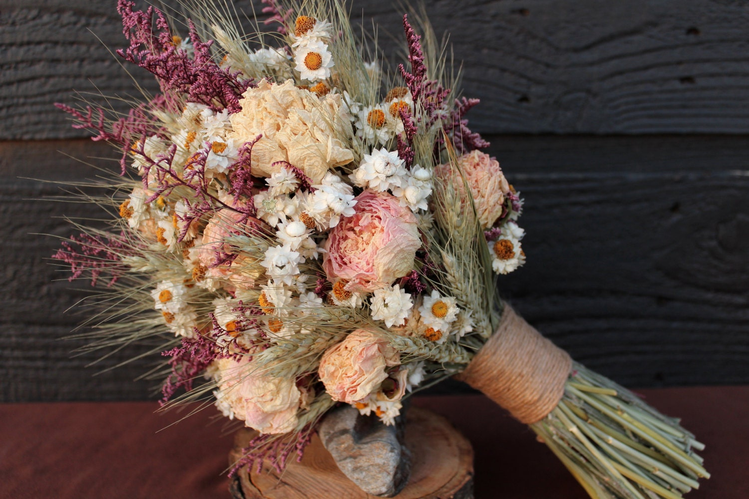 rustic farmhouse medium wedding bouquet by smokymtnwoodcrafts