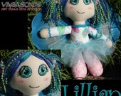 OOAK art doll pink and blue pastel butterfly fairy Lillian
