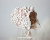 baby bonnet, simply from cream lace and satin , newborn Photo prop, baby hat, vintage girl