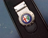 Alfa Romeo Sports Car Collectors Pewter Leather Money Clip Handcrafted in USA