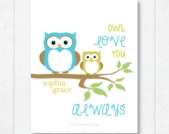 Owl Love You Always Personalized Childrens Print with Owls on a Tree Branch