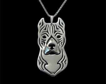 American Staffordshire Terrier (Amstaff) - sterling silver pendant and necklace