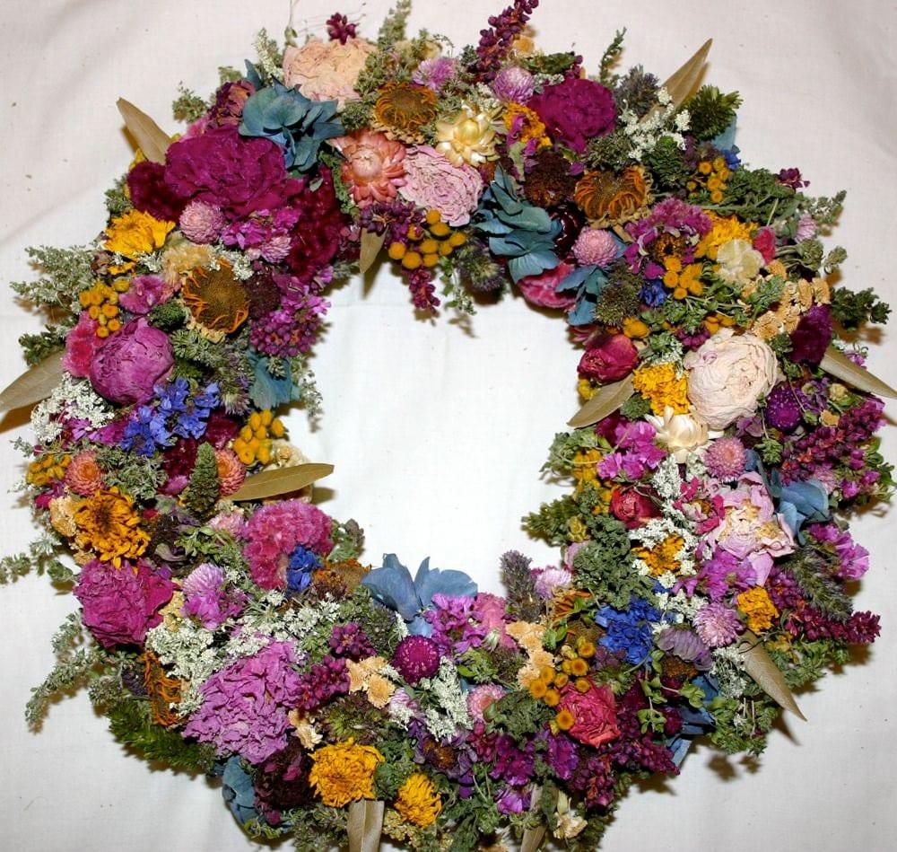 Dried flower wreath by cloverhollowdesigns on etsy