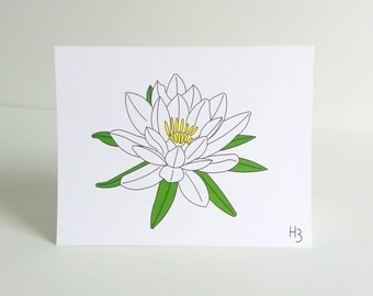 """Floral Note Card -Water Lily Note Card with coordinating """"Waves"""" lined envelope, lotus flower note card"""