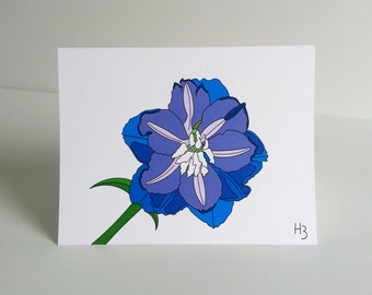 Delphinium floral note card with patterned lined envelope, blank inside, blue flower stationery