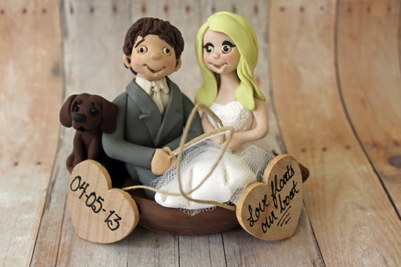 Fishing Wedding Cake Toppers Fisherman Bride By CherryRedToppers