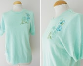 70s Vintage Sweater with embroidery / Mint Colour / Vintage Clothing / Size L
