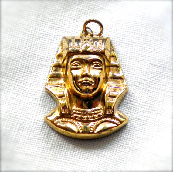 RESERVED Signed WINARD  Egyptian King Tut Charm Pendant  Gold Filled