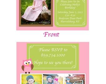 Owl Birthday Invitations - 15 Invites