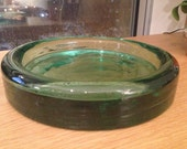 SALE - Vintage Thick Large Green Glass Dish