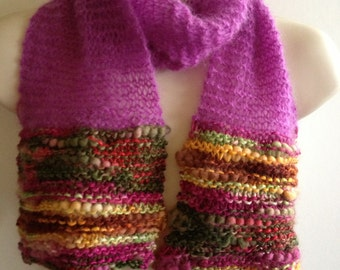 SALE Unique hand knitted/crochet  scarf,multi fibre yarn and silk like yarn ,purple,pink was  24 DOLLARS now 18 DOLLARS