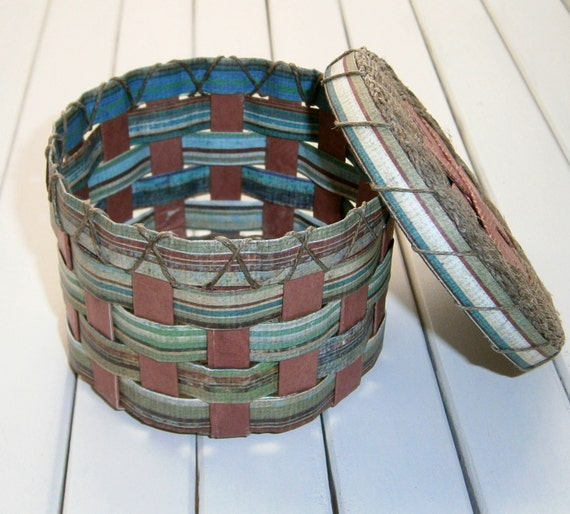 Handmade woven paper baskets : Multi color striped woven recycled paper basket with lid