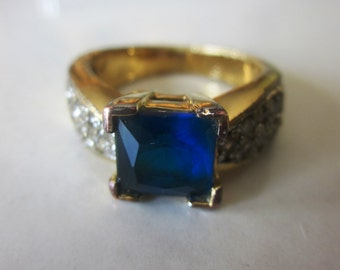 Vintage Thailand Square Cut Blue Sapphire Color Stone and Faux Diamond Ring in Gold Finish, Size 8, Thailand, Statement Ring
