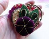Heart Zipper Brooch with Flower