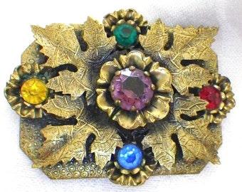 EDWARDIAN Revival Vintage 1930s NOUVEAU Czech Glass Rhinestone Florentine FLORAL Gilt Brass Brooch Pin Gray Kingsburg N Y Downton Abbey Era