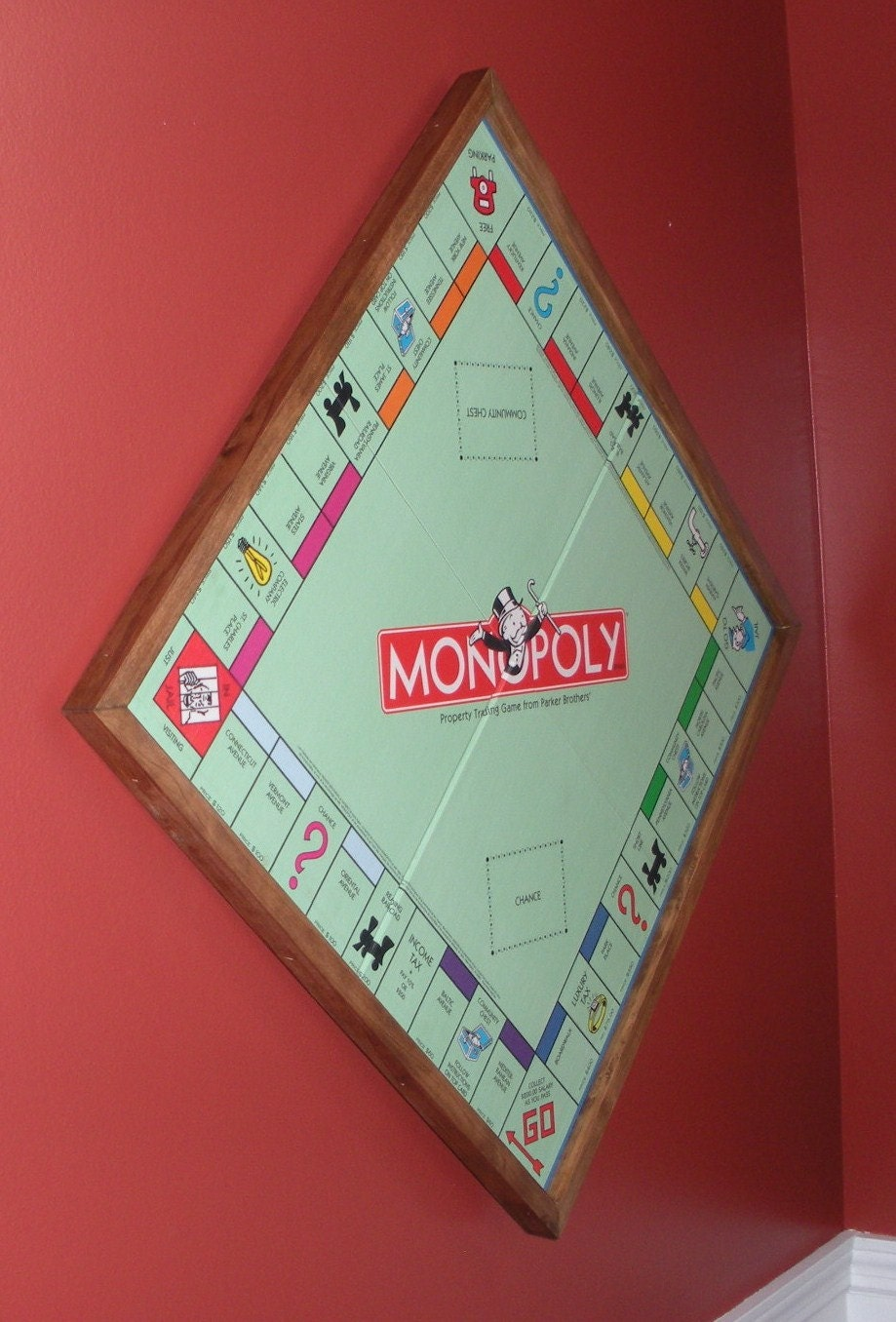 Monopoly Wood Game Board Game Wall Art Upcycled Home