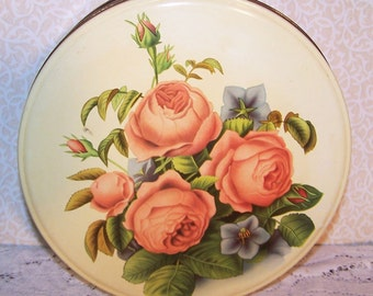 FREE S&H Vintage Metal Tin Original Paper Pic Cookies Romantic Prairie Country Roses Cottage Chic