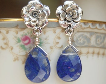 Blueberry Quartz Earrings , Blue Silver Dangle Earrings , Flower Post Earrings