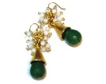 Women's earrings-women's jewelry-gemstone earrings-cluster earrings-green earrings-emerald earrings-gold plated earrings