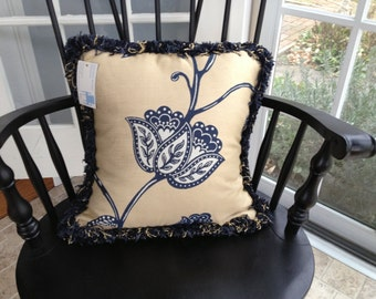 Navy, sand, and white floral pillow