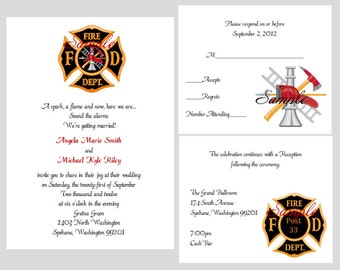 100 Personalized Custom Firemen Firefighter Wedding Invitations Set