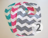 Choose Your Own Baby Bib Set - Gray, Pink, or Aqua Chevron - Baby Boy or Baby Girl Gender Neutral - Set of 2