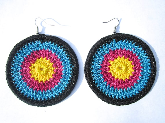 SALE: Handmade crochet earrings in black, pink, yellow and blue threads, gifts for her, colorful earrings