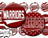 Instant Download Bottle Cap Image Sheet - Warriors School Mascot, Maroon, White - 1 inch Circles