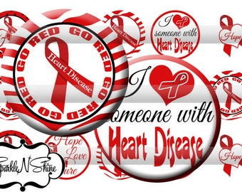 Instant Download Bottle Cap Image Sheet - Heart Disease Awareness - 1 inch Circles