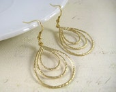Gold Dangle Earrings - Triple Hoop Earrings - Teardrop Earrings - Matte Rhodium - Gold Teardrop Earrings