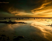 Golden Sunset Photograph, Reflections, Lake Michigan, Pure Michigan Photo, Traverse City, Leelanau, Photography, Fine Art, Great Lakes Art